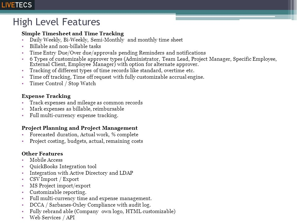 High Level Features Simple Timesheet and Time Tracking