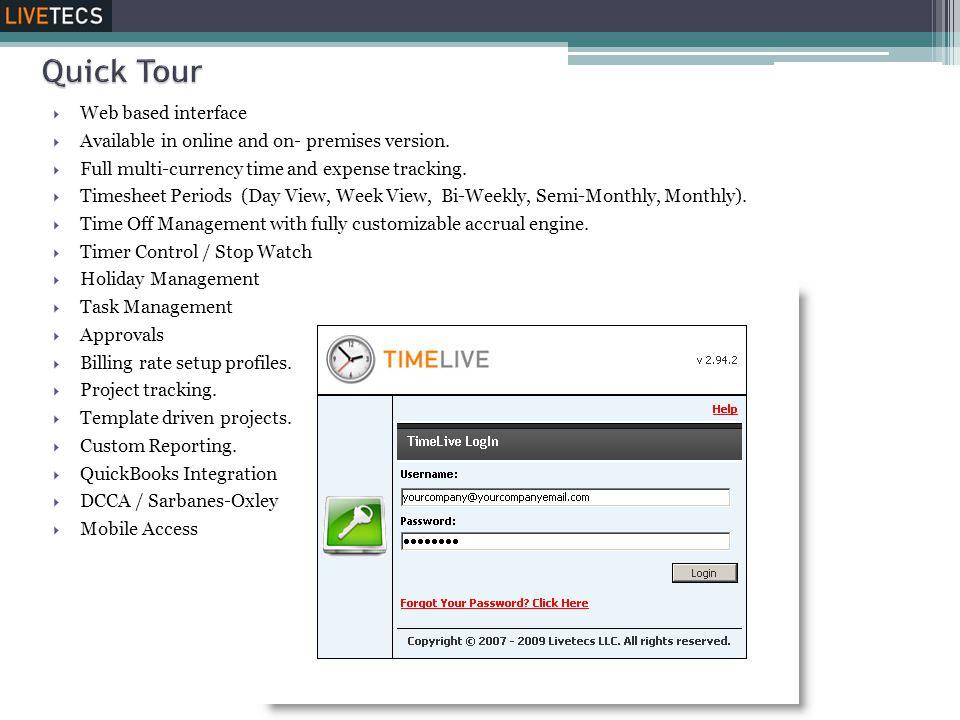Quick Tour Web based interface