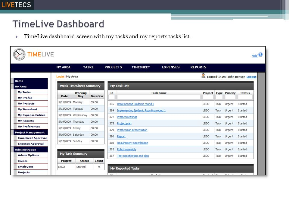 TimeLive Dashboard TimeLive dashboard screen with my tasks and my reports tasks list.