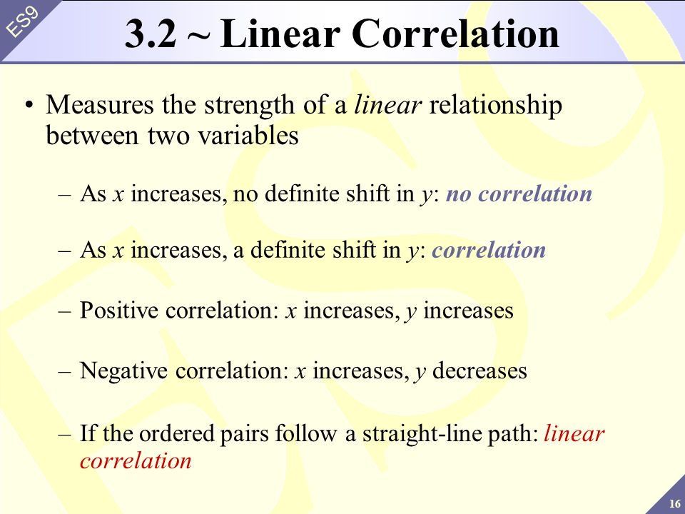 3.2 ~ Linear Correlation Measures the strength of a linear relationship between two variables.