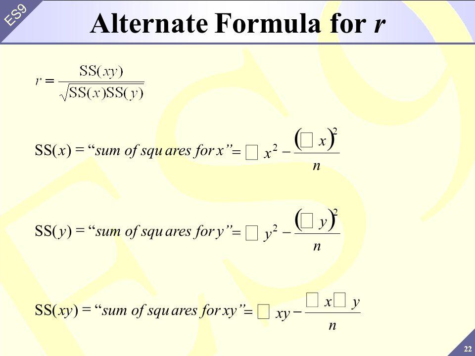 Alternate Formula for r