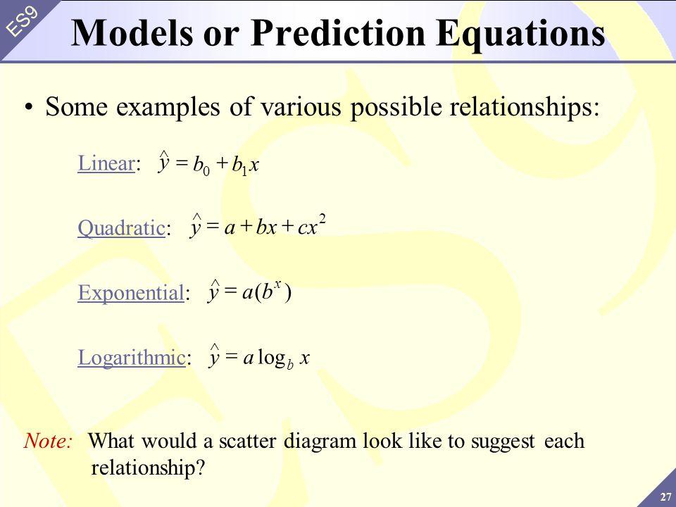 Models or Prediction Equations