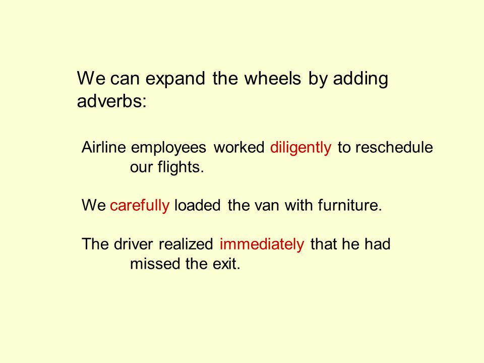 We can expand the wheels by adding adverbs: