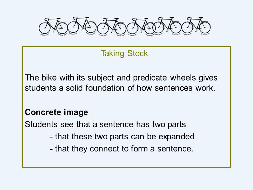 Taking Stock The bike with its subject and predicate wheels gives students a solid foundation of how sentences work.