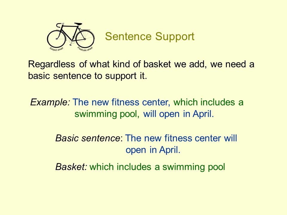 Sentence Support Regardless of what kind of basket we add, we need a basic sentence to support it.