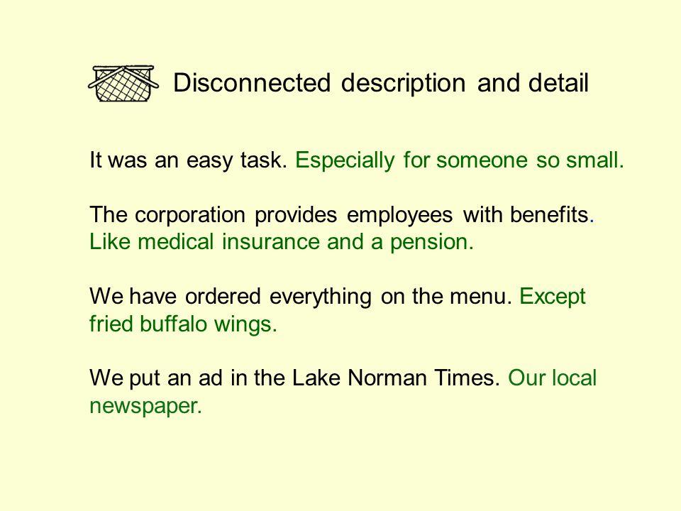 Disconnected description and detail