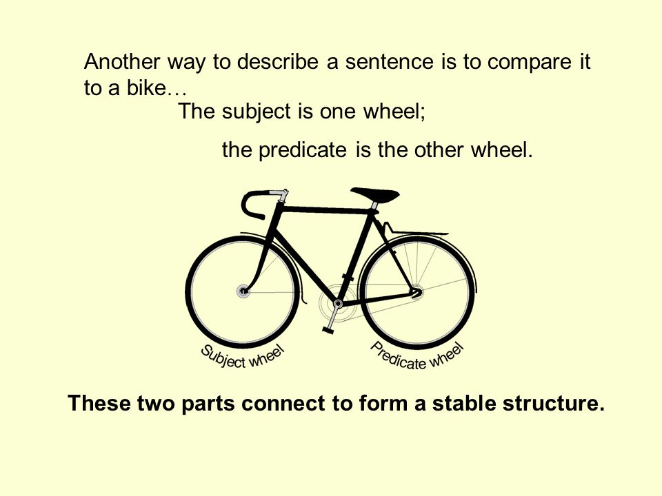 Another way to describe a sentence is to compare it to a bike…