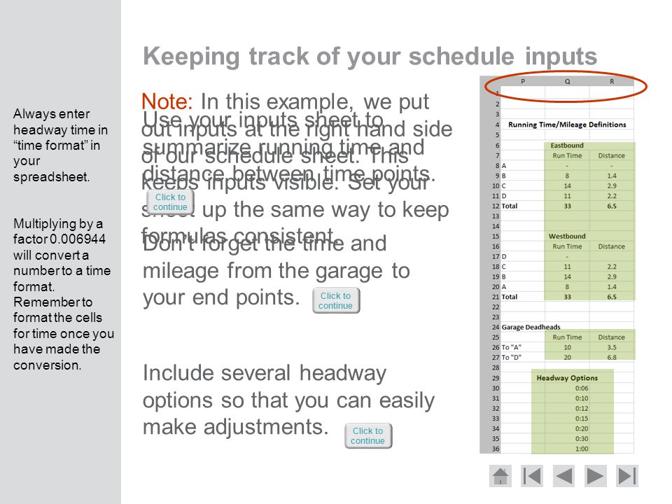 Keeping track of your schedule inputs