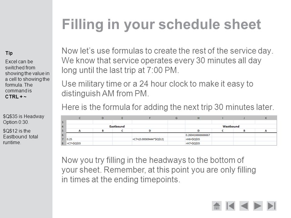 Filling in your schedule sheet