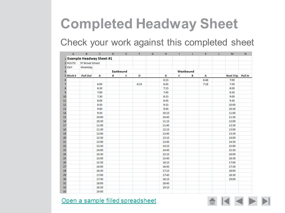 Completed Headway Sheet