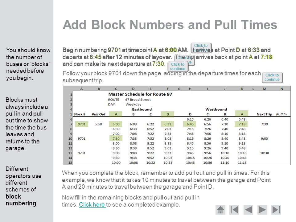 Add Block Numbers and Pull Times