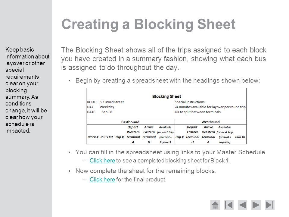 Creating a Blocking Sheet