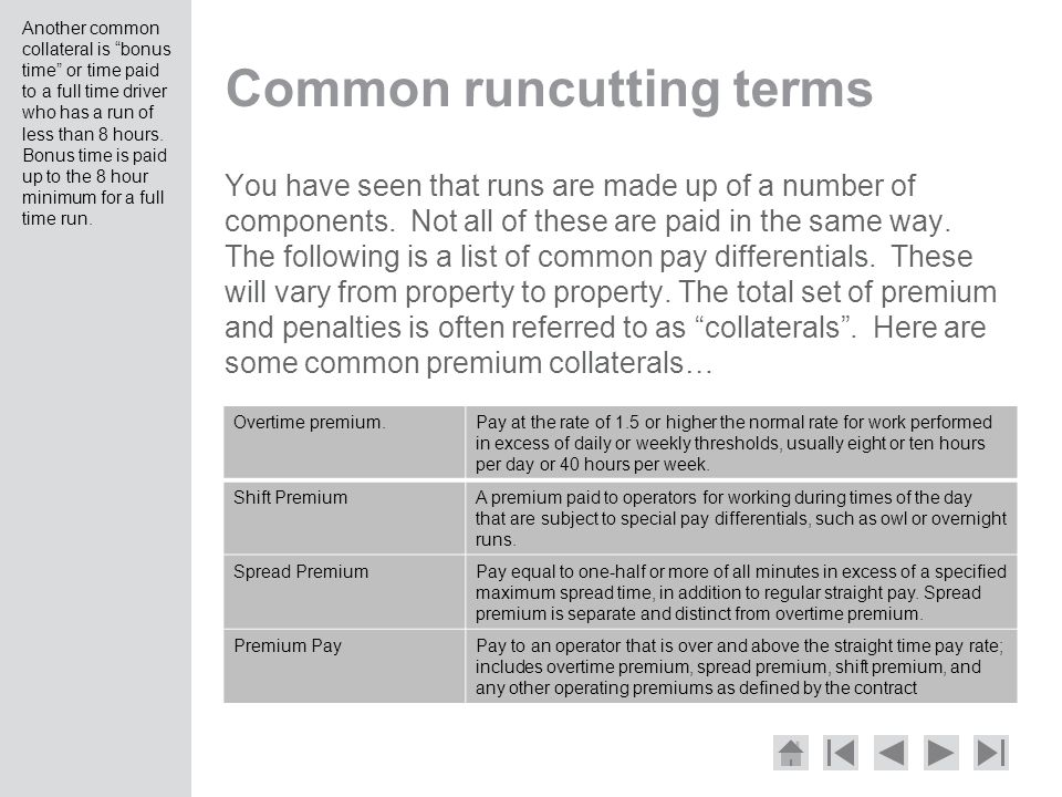 Common runcutting terms