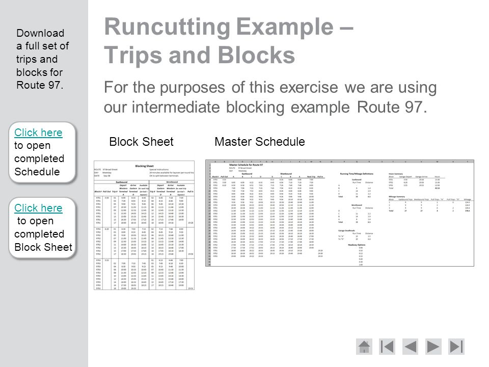 Runcutting Example – Trips and Blocks