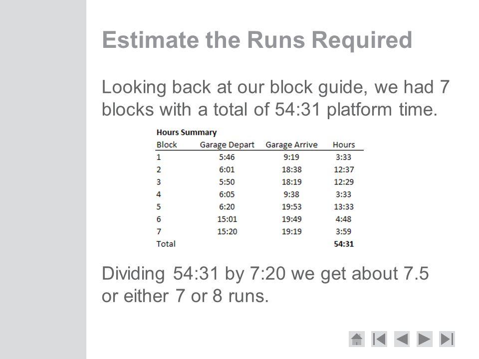 Estimate the Runs Required