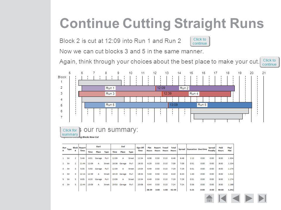 Continue Cutting Straight Runs