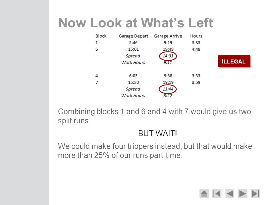 Now Look at What's Left Combining blocks 1 and 6 and 4 with 7 would give us two split runs. BUT WAIT!