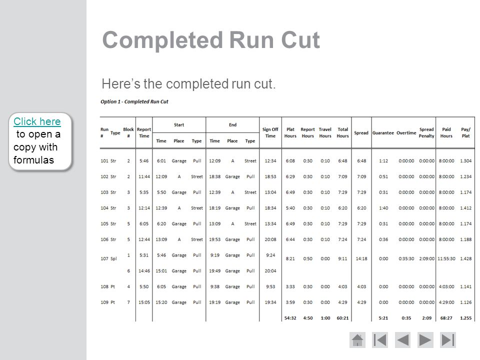 Completed Run Cut Here's the completed run cut.