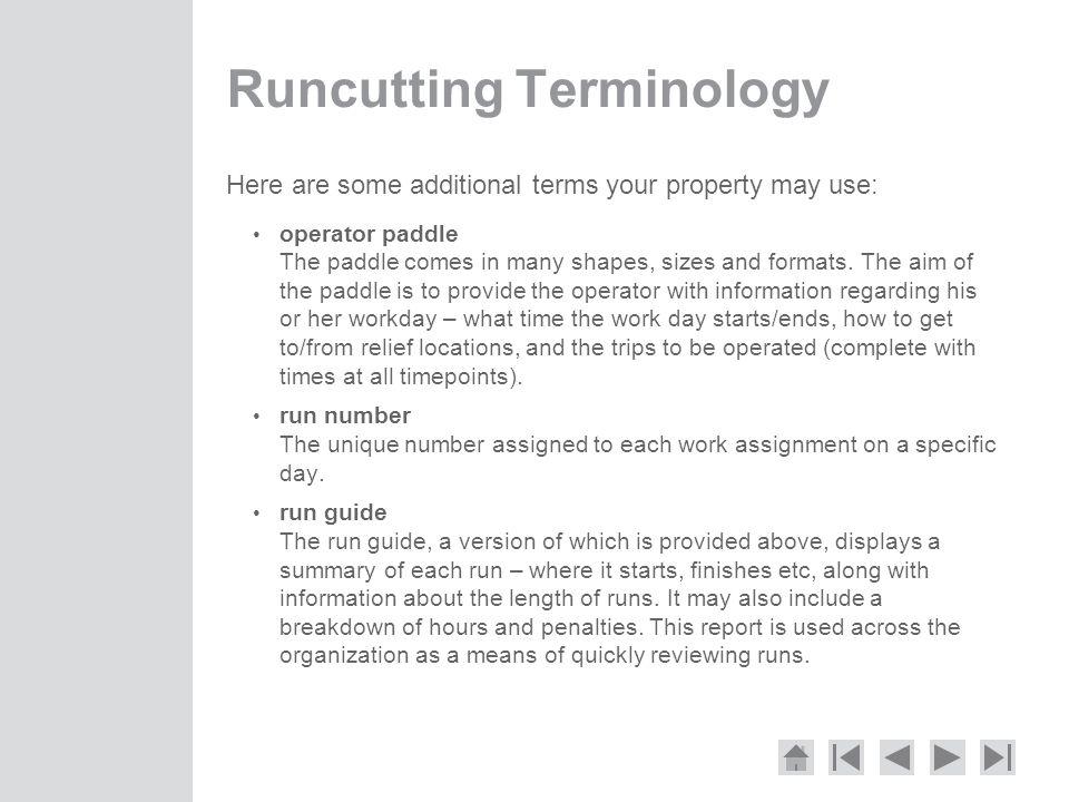Runcutting Terminology