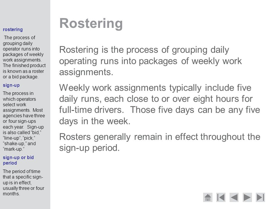 Rostering rostering.