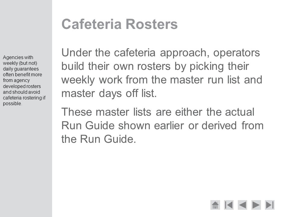 Cafeteria Rosters
