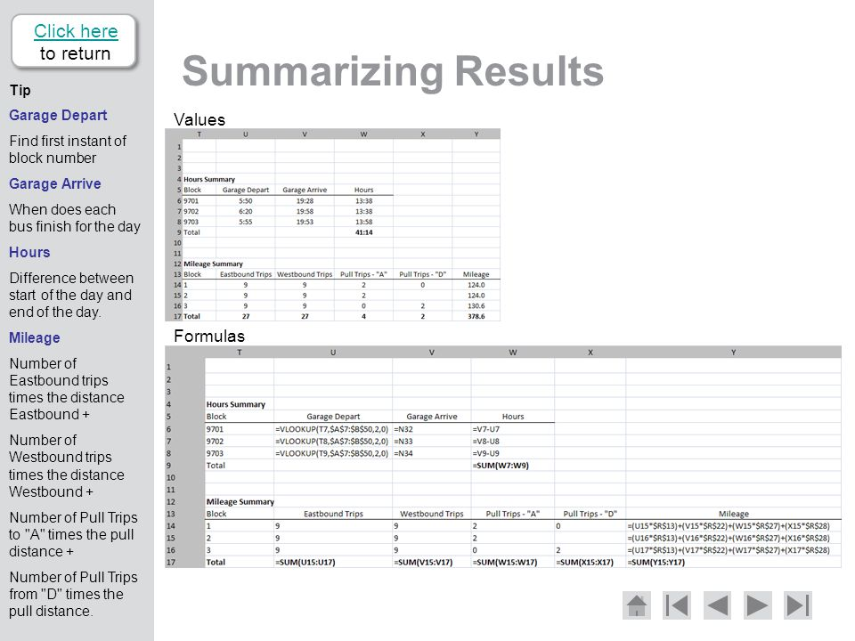 Summarizing Results Click here to return Values Formulas Tip