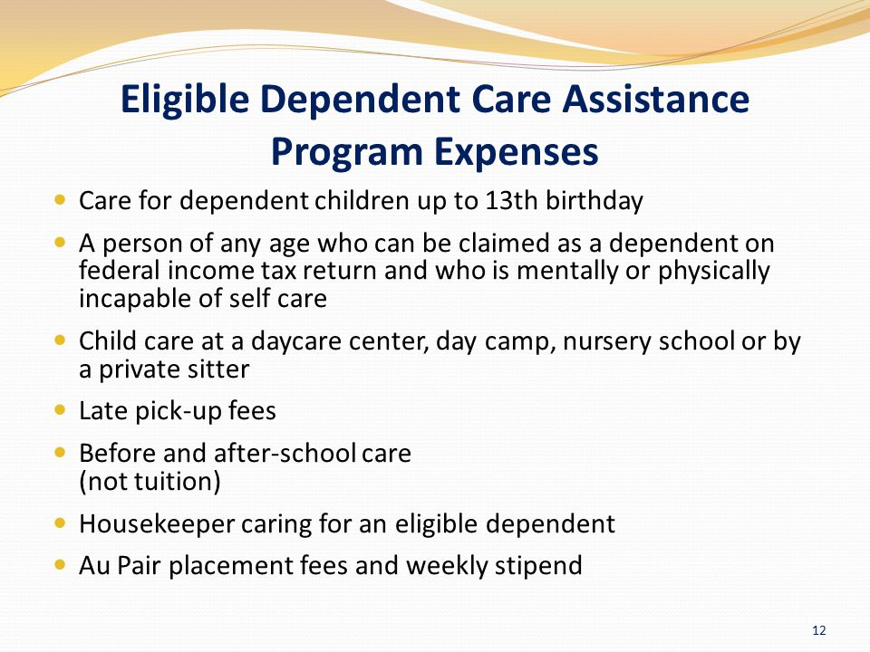 Eligible Dependent Care Assistance Program Expenses