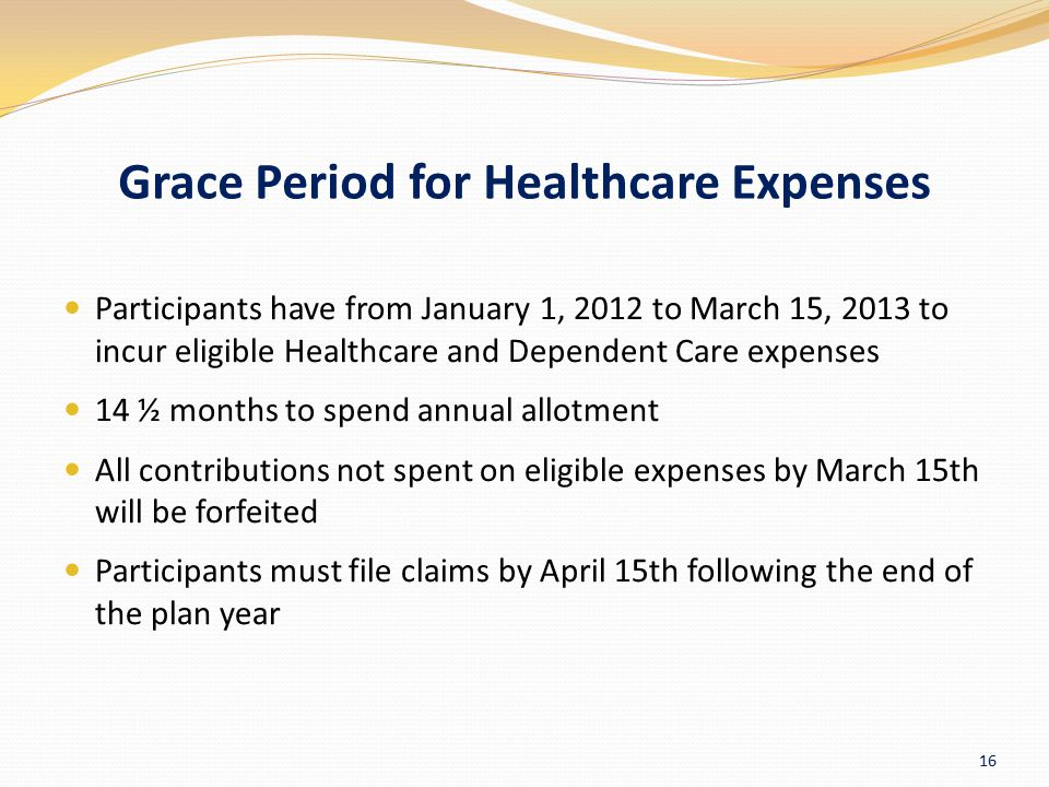Grace Period for Healthcare Expenses