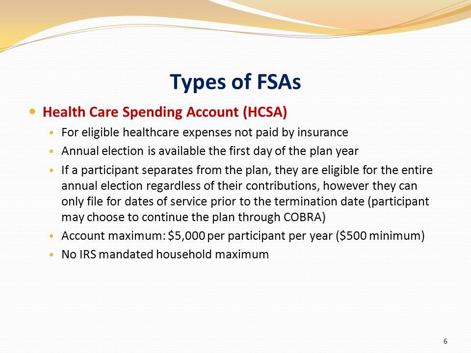 Types of FSAs Health Care Spending Account (HCSA)