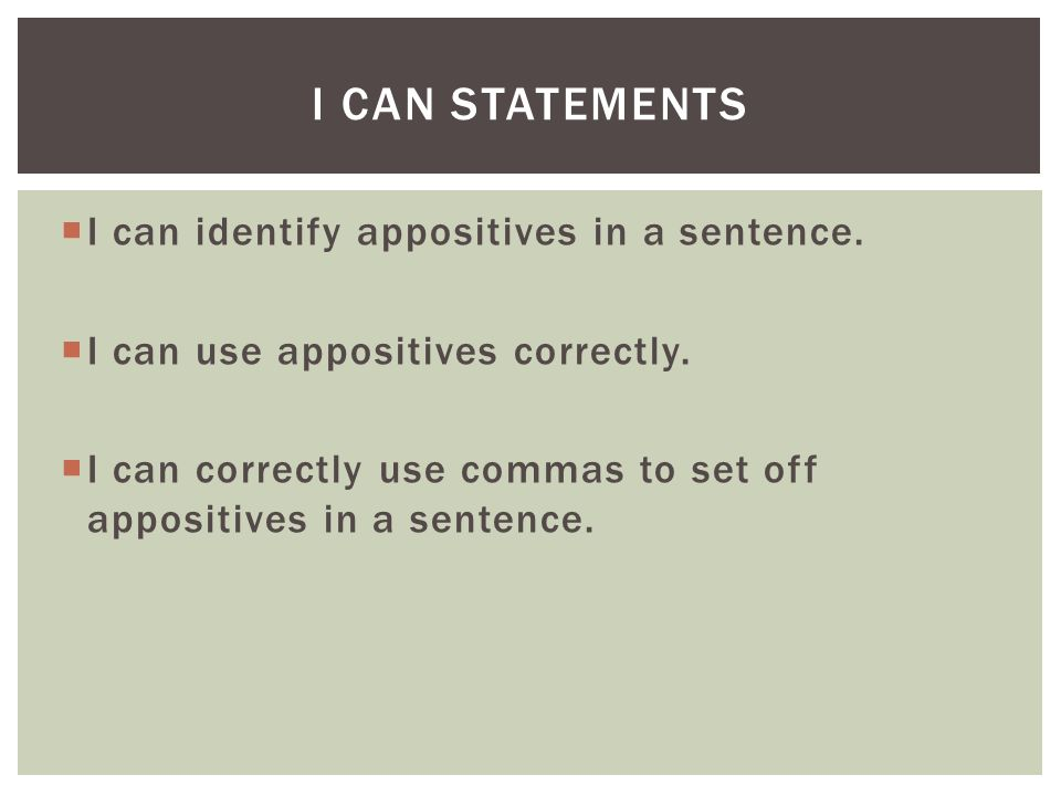 I Can Statements I can identify appositives in a sentence.