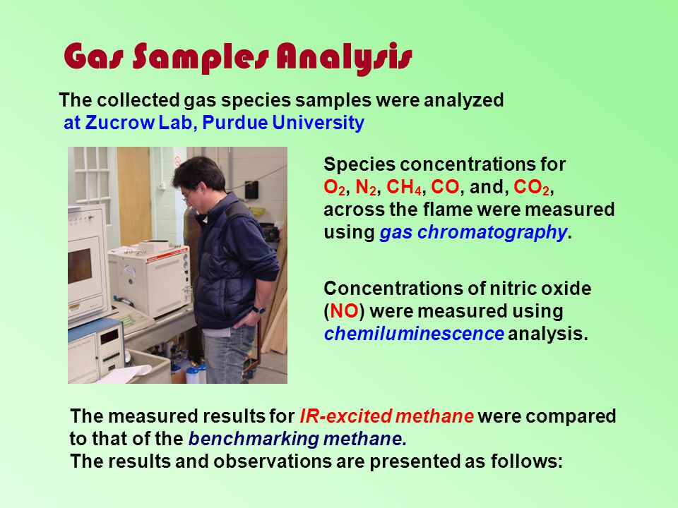 Gas Samples Analysis The collected gas species samples were analyzed
