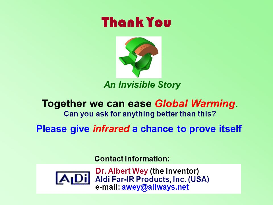 Thank You Together we can ease Global Warming.