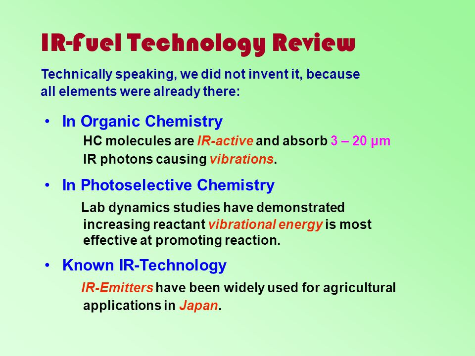 IR-Fuel Technology Review