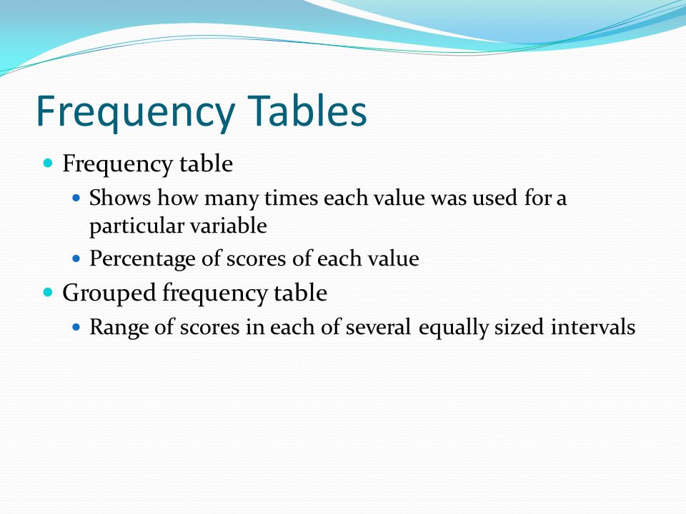 Frequency Tables Frequency table Grouped frequency table