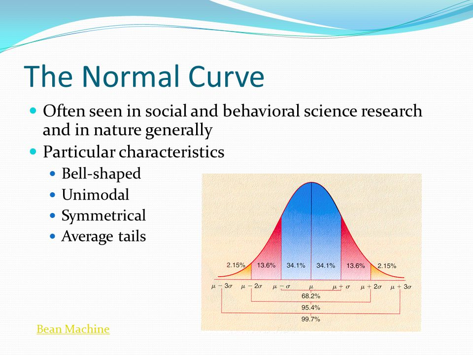 The Normal Curve Often seen in social and behavioral science research and in nature generally. Particular characteristics.