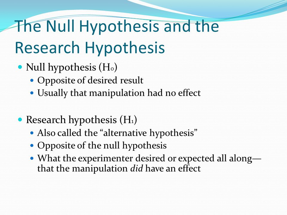 The Null Hypothesis and the Research Hypothesis