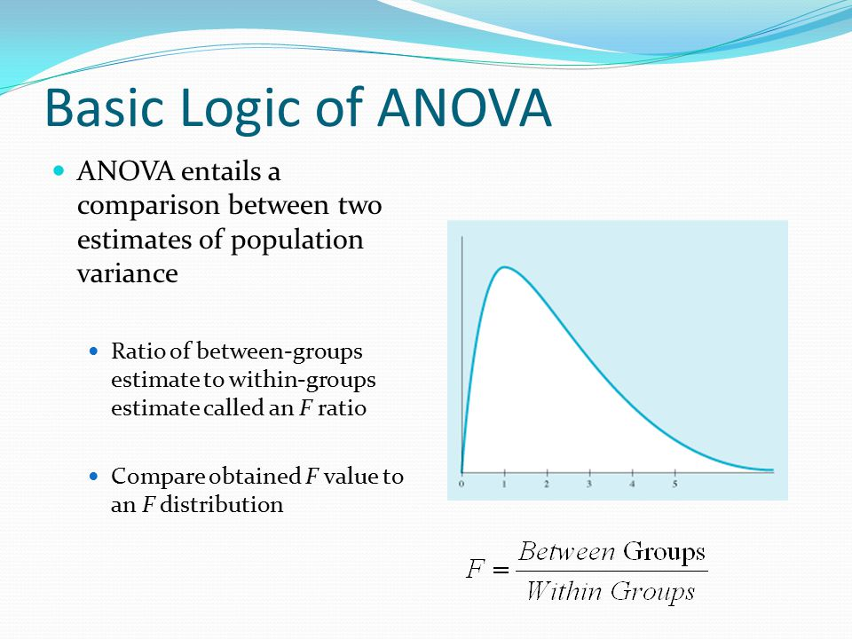 Basic Logic of ANOVA ANOVA entails a comparison between two estimates of population variance.