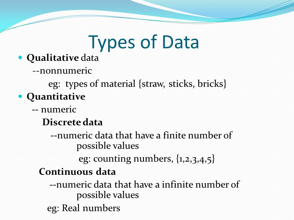 Types of Data Qualitative data --nonnumeric