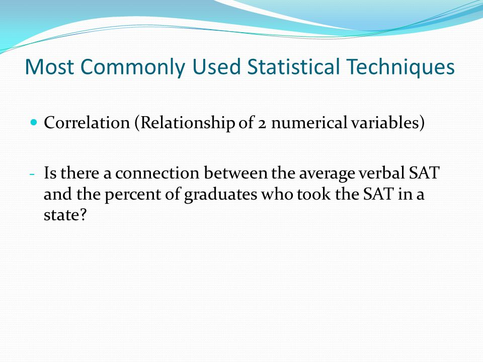 Most Commonly Used Statistical Techniques