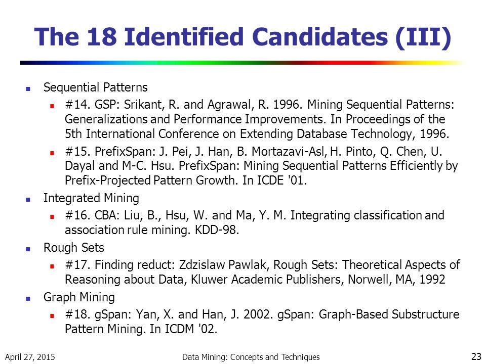 The 18 Identified Candidates (III)
