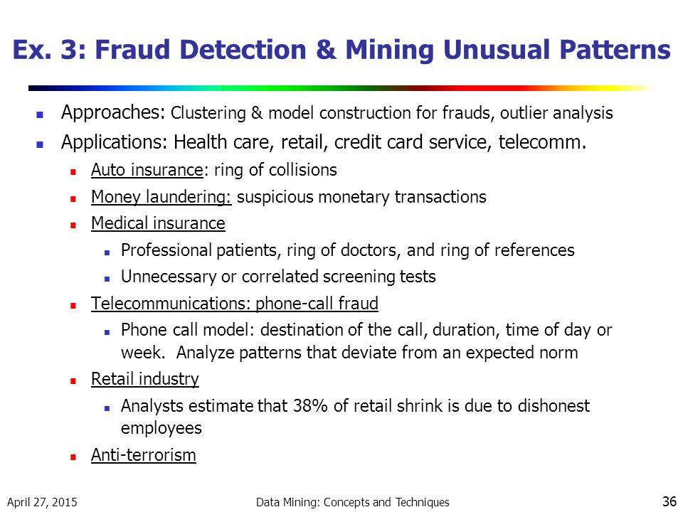 Ex. 3: Fraud Detection & Mining Unusual Patterns