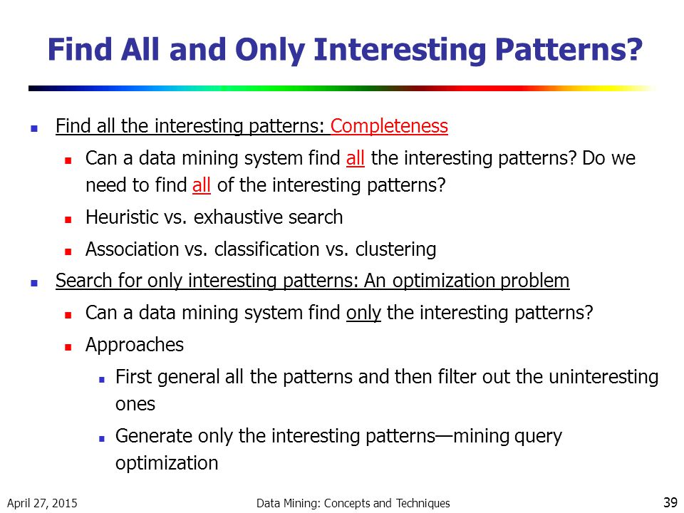 Find All and Only Interesting Patterns