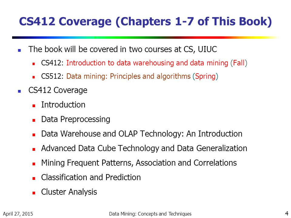 CS412 Coverage (Chapters 1-7 of This Book)