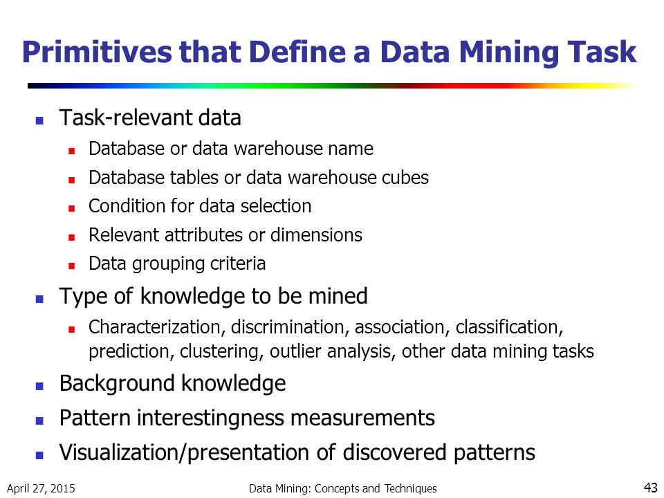 Primitives that Define a Data Mining Task
