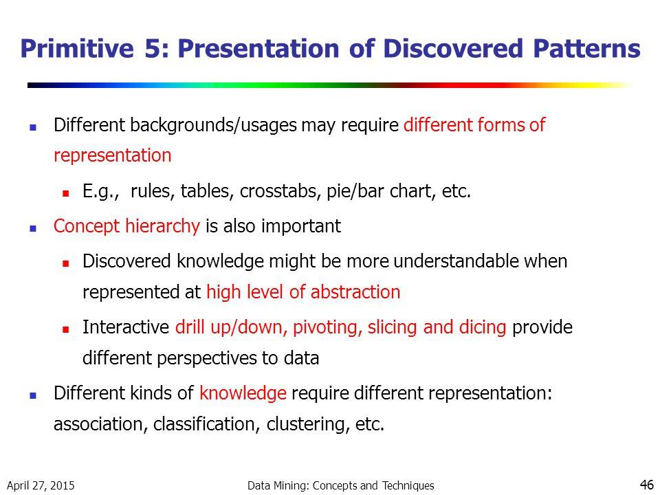 Primitive 5: Presentation of Discovered Patterns