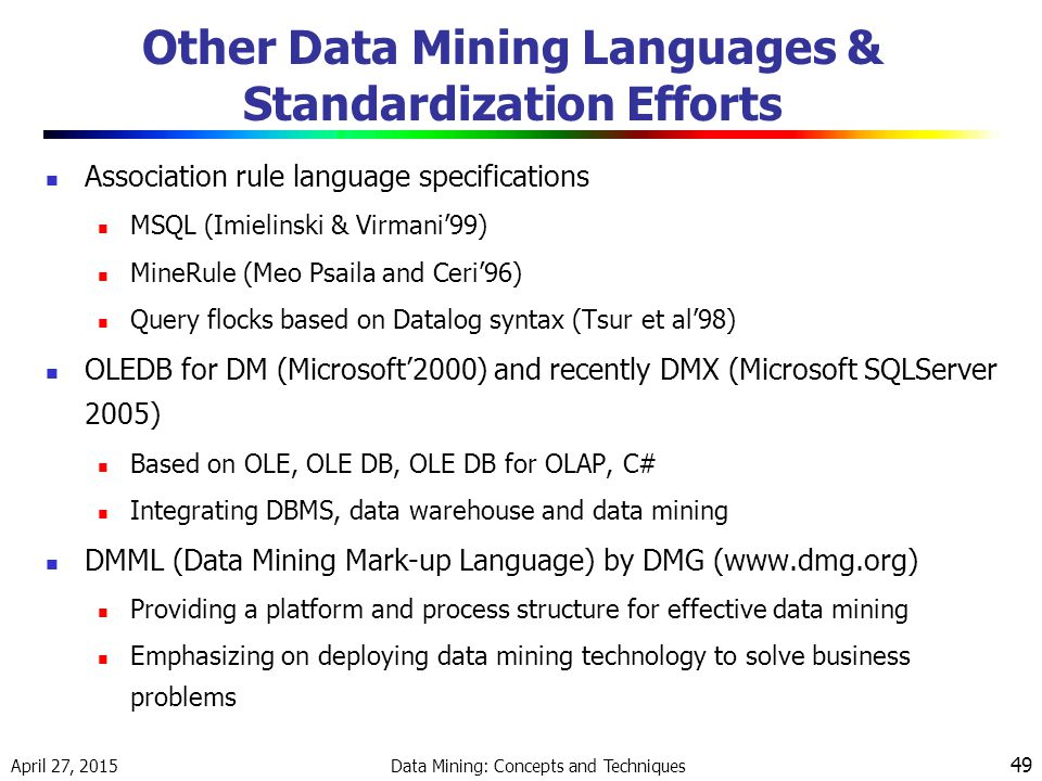 Other Data Mining Languages & Standardization Efforts