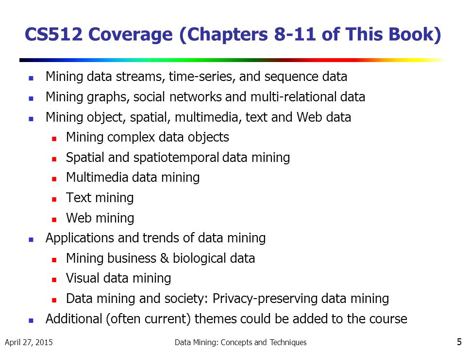 CS512 Coverage (Chapters 8-11 of This Book)
