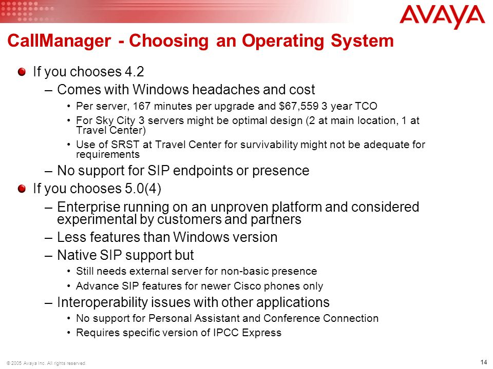 CallManager - Choosing an Operating System