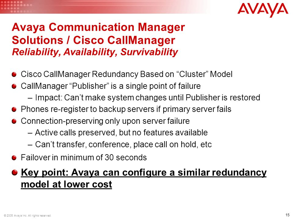 Avaya Communication Manager Solutions / Cisco CallManager Reliability, Availability, Survivability