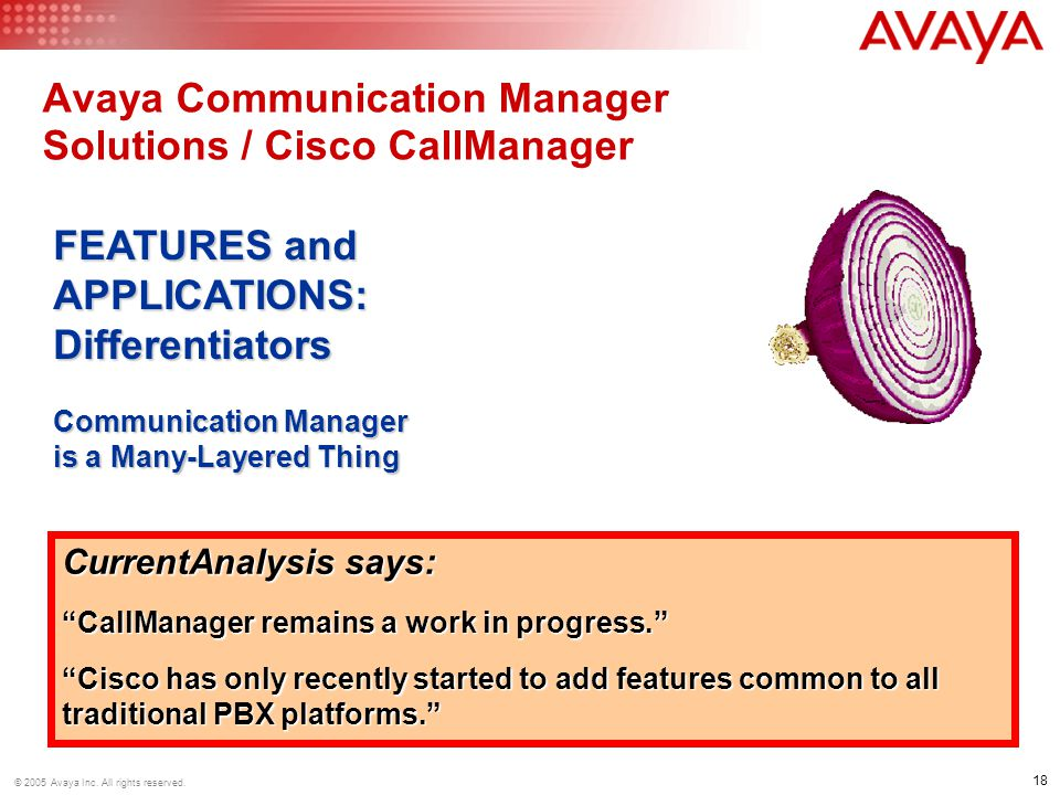 Avaya Communication Manager Solutions / Cisco CallManager
